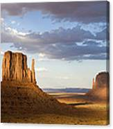 East And West Mittens Monument Valley Canvas Print