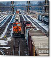 Eastbound And Westbound Trains Canvas Print