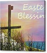 Easter Blessings Cross Canvas Print