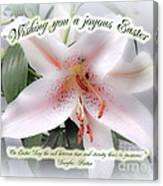 Easter Greeting Card - White Lily With Quote Canvas Print