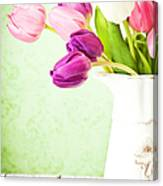 Easter Tulips And Copy Space Canvas Print