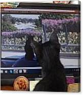 Eclipse Watching Herself On Computer Monitor Canvas Print