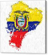Ecuador Painted Flag Map Canvas Print
