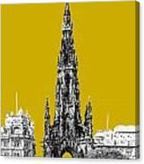 Edinburgh Skyline Scott Monument - Gold Canvas Print