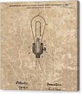 Edison Electric Lamp Patent Marble Canvas Print
