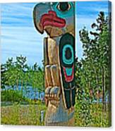 Edward Smarch Totem Pole At Teslin Tlingit Heritage Memorial Center In Teslin-yt Canvas Print