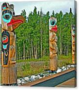 Edward Smarch Totem Poles At Teslin Tlingit Heritage Memorial Center In Teslin-yt Canvas Print