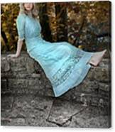 Edwardian Girl On A Stone Wall Canvas Print