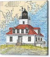 Egg Rock Lighthouse Me Nautical Chart Map Art Canvas Print