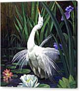 Egret And The Butterfly Canvas Print