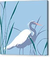 abstract Egret graphic pop art nouveau 1980s stylized retro tropical florida bird print blue gray  Canvas Print