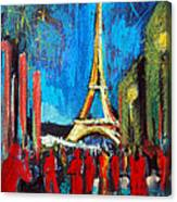 Eiffel Tower And The Red Visitors Canvas Print
