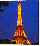 Eiffel Tower Illuminated Canvas Print