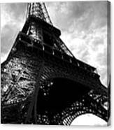 Eiffel Tower In Black And White. Ominous Sky Overhead Canvas Print
