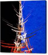 Eiffel Tower In Red On Blue  Abstract  Canvas Print