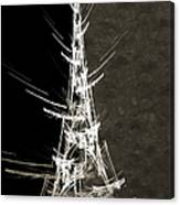 Eiffel Tower In White Bw 2 Abstract Canvas Print