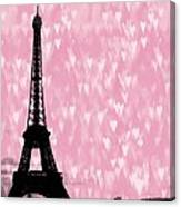 Eiffel Tower - Love In Paris Canvas Print