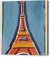 Eiffel Tower Orange Blue Canvas Print