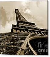 Eiffel Tower Paris France Black And White Canvas Print