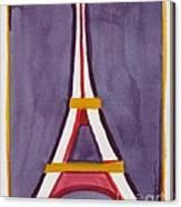 Eiffel Tower Purple Red Canvas Print