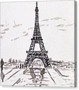 Eiffel Tower Rainy Day Canvas Print