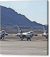 Eight F-16 Thunderbird Falcon's On Static Display Nellis Canvas Print