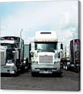 Eighteen Wheeler Vehicles On The Road Canvas Print