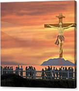 El Faro Christ Sunset Photo Illustration Canvas Print