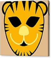 El Tigre Luchador Orange Black Beige Canvas Print