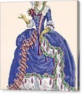 Elaborate Court Dress In Electric Blue Canvas Print