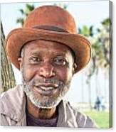 Elderly Black Man Smiling Canvas Print