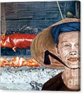Elderly Vietnamese Woman Wearing A Conical Hat Altered Version Canvas Print