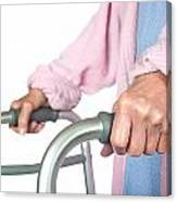 Elderly Woman Using Walker Canvas Print