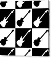 Electric Guitar Checkerboard Canvas Print