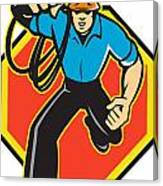 Electrician Worker Running Electrical Plug Canvas Print