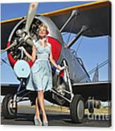 Elegant 1940s Style Pin-up Girl Canvas Print