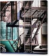 Elemental City - Fire Escape Graffiti Brownstone Canvas Print