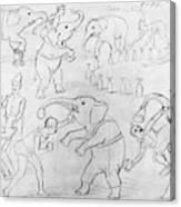 Elephant Acts, 1880s Canvas Print