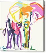 Elephant In Color Ecru Canvas Print