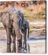 Elephant Mother And Calf Canvas Print