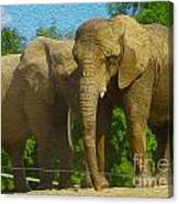 Elephant Snuggle Canvas Print