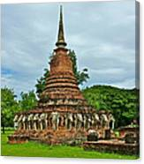 Elephant Stupa At Wat Sarasak In Sukhothai Historical Park-thailand Canvas Print