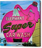 Elephant Super Car Wash Canvas Print