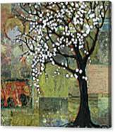 Elephant Under A Tree Canvas Print