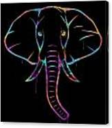 Elephant Watercolors - Black Canvas Print