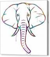 Elephant Watercolors - White Background Canvas Print