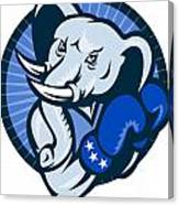 Elephant With Boxing Gloves Democrat Mascot Canvas Print