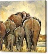 Elephants Herd Canvas Print
