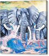 Elephants In The Tide Canvas Print