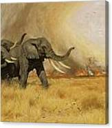 Elephants Moving Before A Fire Canvas Print